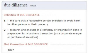 due diligence def
